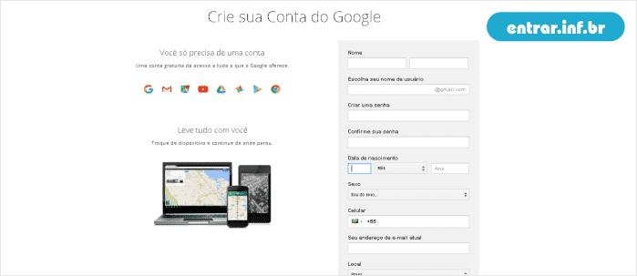 Criar uma conta no Gmail Grátis